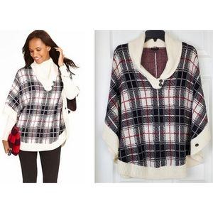 Talbots wool blend Plaid v neck poncho oversized